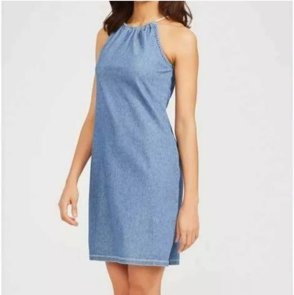 J. McGlaughlin Blue Jean Maria Halter Dress